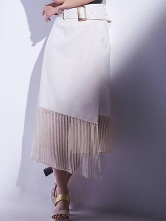 裾プリーツドッキングスカート
