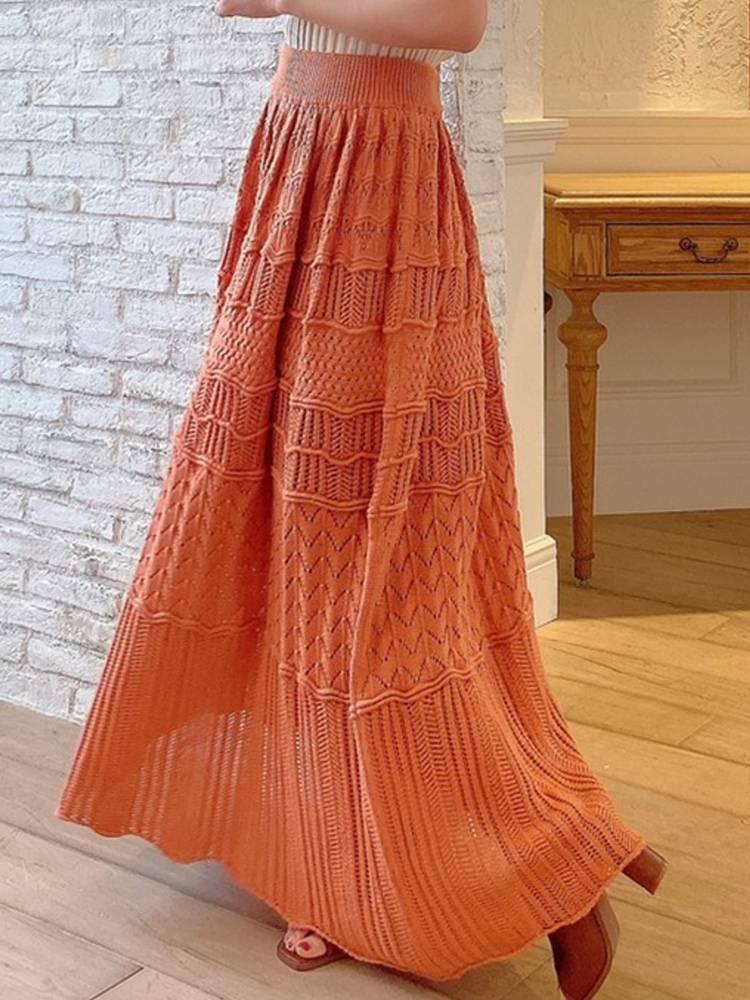 鈎針風マキシスカート