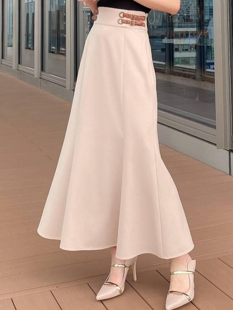 フェイクレザーポイントマーメイドスカート